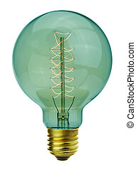 Close up vintage glowing light bulb
