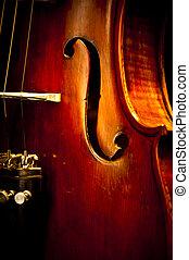 Close Up Violin - An enhanced close up image of an old...