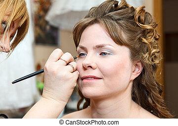 close-up, vrouw, aan het dienen, gezicht, make-up, kaukasisch