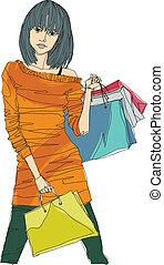 close-up, vrouw winkelen, vasthouden