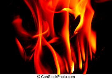close-up, vuur, op, zwarte achtergrond
