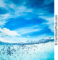 Close up water on a background of blue sky