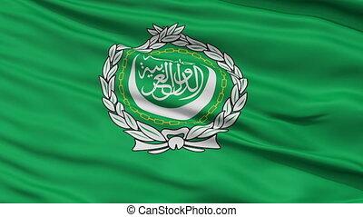 Close Up Waving Flag of Arab League - Arab League Flag Close...