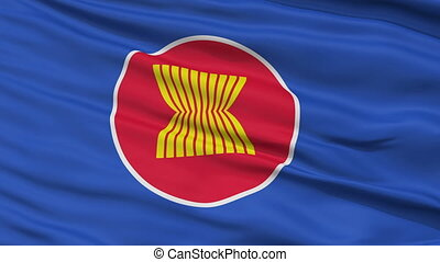 Close Up Waving Flag of Asean