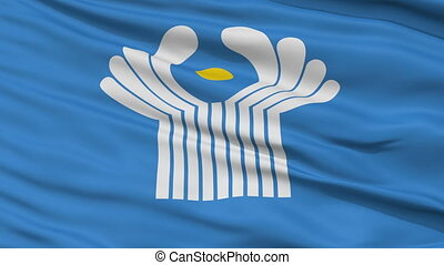 Close Up Waving Flag of CIS