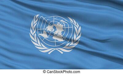 Close Up Waving Flag of United Nation - United Nation Flag...