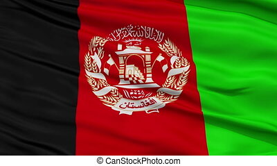 Close Up Waving National Flag of Afghanistan - Afghanistan...