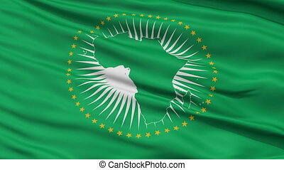 Close Up Waving National Flag of African Union - African...