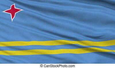 Close Up Waving National Flag of Aruba