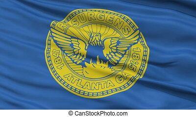 Close Up Waving National Flag of Atlanta City
