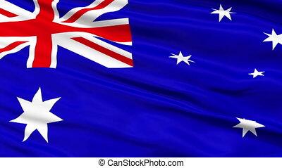 Close Up Waving National Flag of Australia