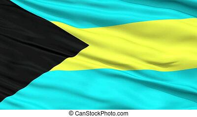 Close Up Waving National Flag of Bahamas - Bahamas Flag...
