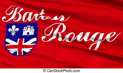 Close Up Waving National Flag of Baton Rouge City - Baton...