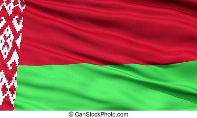 Close Up Waving National Flag of Belarus