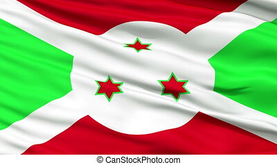 Close Up Waving National Flag of Burundi