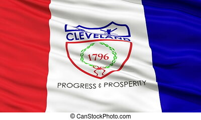 Close Up Waving National Flag of Cleveland City - Cleveland...
