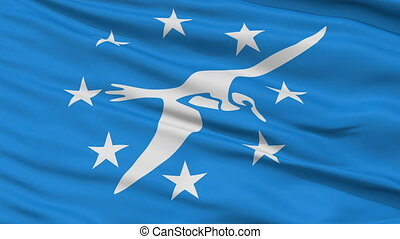 Close Up Waving National Flag of Corpus Christi City -...