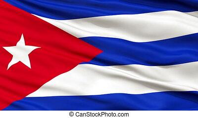 Close Up Waving National Flag of Cuba