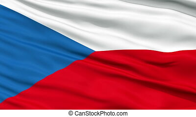 Close Up Waving National Flag of Czech Republic