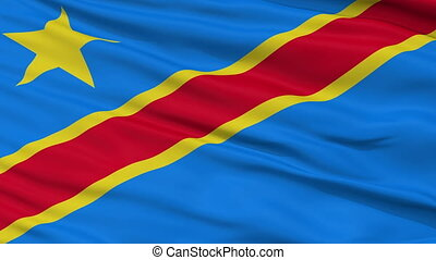 Close Up Waving National Flag of Democratic Republic of the Congo