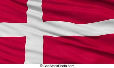 Close Up Waving National Flag of Denmark