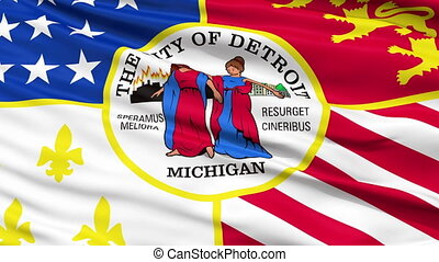 Close Up Waving National Flag of Detroit City