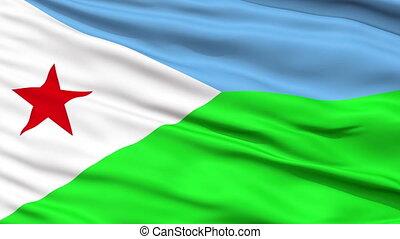 Close Up Waving National Flag of Djibouti