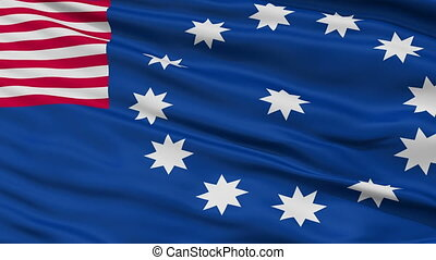 Close Up Waving National Flag of Easton City - Easton City...
