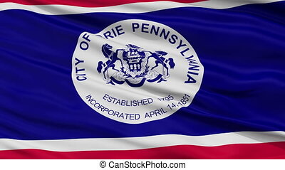 Close Up Waving National Flag of Erie City - Erie City Flag...