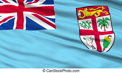 Close Up Waving National Flag of Fiji