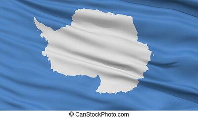 Close Up Waving National Flag of Antarctica