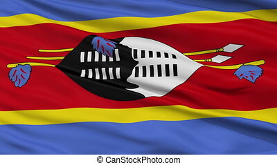 Close Up Waving National Flag of Swaziland