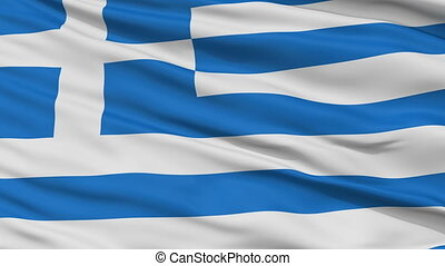 Close Up Waving National Flag of Greece