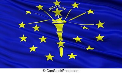 Close Up Waving National Flag of Indiana - Indiana Flag...