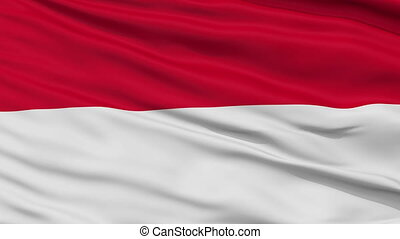 Close Up Waving National Flag of Indonesia