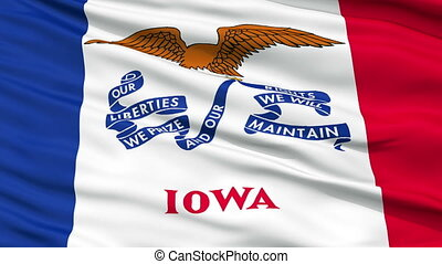 Close Up Waving National Flag of Iowa