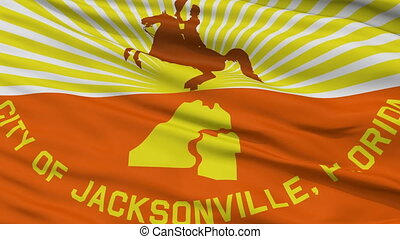 Close Up Waving National Flag of Jacksonville City -...