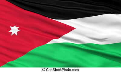 Close Up Waving National Flag of Jordan