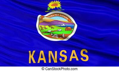 Close Up Waving National Flag of Kansas