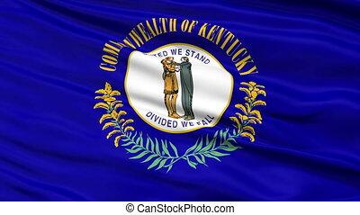 Close Up Waving National Flag of Kentucky