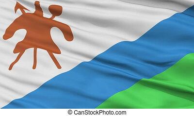 Close Up Waving National Flag of Lesotho