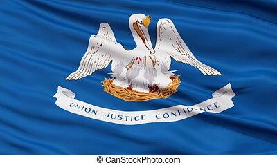 Close Up Waving National Flag of Louisiana