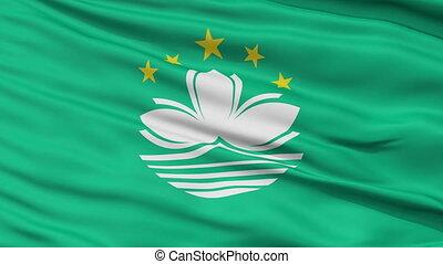 Close Up Waving National Flag of Macau