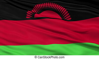Close Up Waving National Flag of Malawi