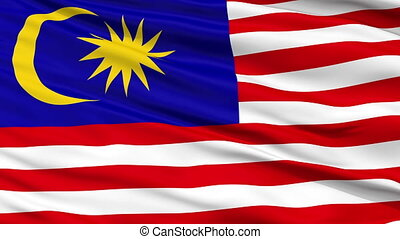 Close Up Waving National Flag of Malaysia - Malaysia Flag...