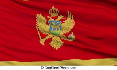 Close Up Waving National Flag of Montenegro