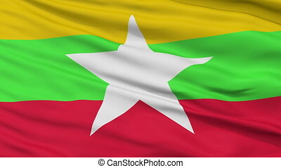 Close Up Waving National Flag of Myanmar - Myanmar Flag...