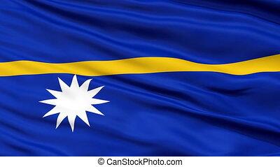 Close Up Waving National Flag of Nauru