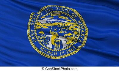 Close Up Waving National Flag of Nebraska
