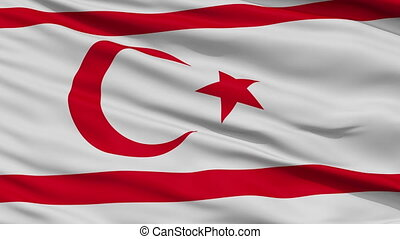 Close Up Waving National Flag of Northern Cyprus - Northern...